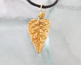 Bronze Heart Shaped Leaf Necklace on Adjustable Cord