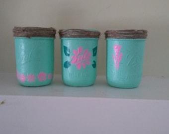 Light blue mason jars