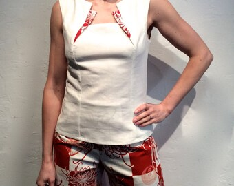 Ecru linen and Japanese printed cotton top