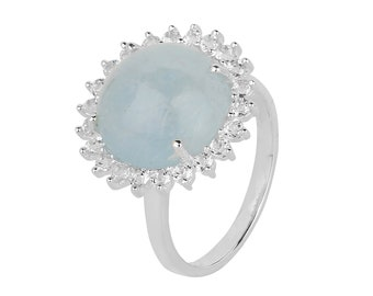 Aqua pronged Silver Stone ring STERLING SILVER RING Party ring topaz ring...