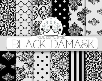 "Damask Digital Paper: "" Black Damask"" with black damask background, black damask pattern, black quatrefoil"