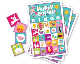 Easter BINGO Game - Kid's Printable Bingo Game - Bingo Game for Kids - Easter Bingo Instant Download - Classroom Easter Bingo