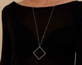 SALE! Statement necklace/Square pendant necklace/Long necklace/geometric necklace/statement jewelry/gold necklace/Silver Square necklace