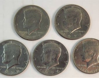 Lot Set of 5 Kennedy Coins, 1971 1971d 1972 1974 1976 Bicentennial JFK Silver Half Dollars Circulated, Philadelphia Mint