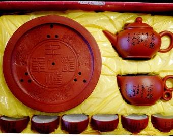 Teapot Oriental set of 9 pieces for ceremonies ceramic red clay in its original box