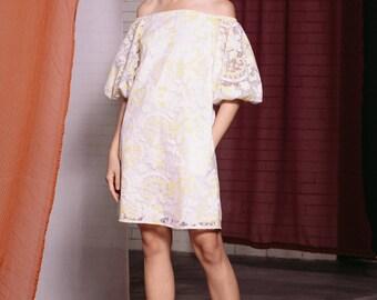 Maarimaia Off shoulder Balloon Sleeve Lace Mini Yellow | Flowy Dress | Summer Dress | Handkerchief Hem | Drop Waist | Casual | Lace Dress