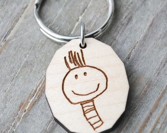 Your Child's Art Personalized Sketch Keychain or Necklace Kid Art Custom Handwriting Gift for Grandparents Mothers Day Fathers Day