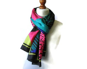 Vintage Silk Scarf 80s Geo Print Printed Colorblock Silk Shawl Blue Green Pink Black Vivid Colors Wrap Large long Scarf Gift for Her
