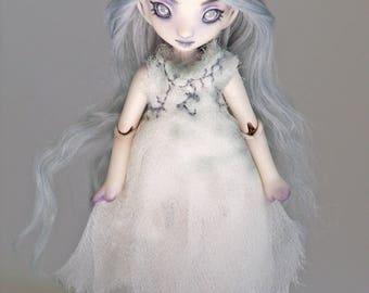 Miniature ghost doll, tiny porcelain bjd  Meka 47/50 handmade bjd by ladymeow
