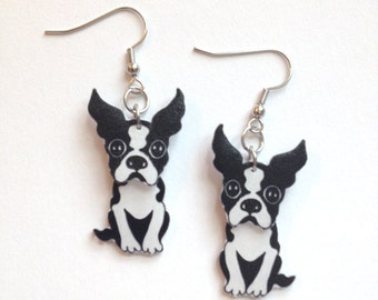 Boston Terrier Dog Puppy Pet Lover Handcrafted Plastic 3 Dimensional Earrings Accessories Fashion Novelty