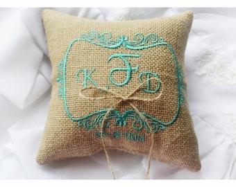 Burlap Wedding pillow , wedding pillow , ring bearer pillow, ring bearer pillow personalized wedding pillow (R47)