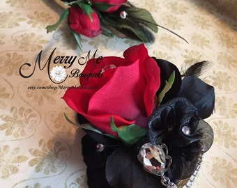 Black and Red Corsage Set - Black and Red Boutonniere Set - Black Red Corsage - Red Black Corsage - Black and Red Boutonniere