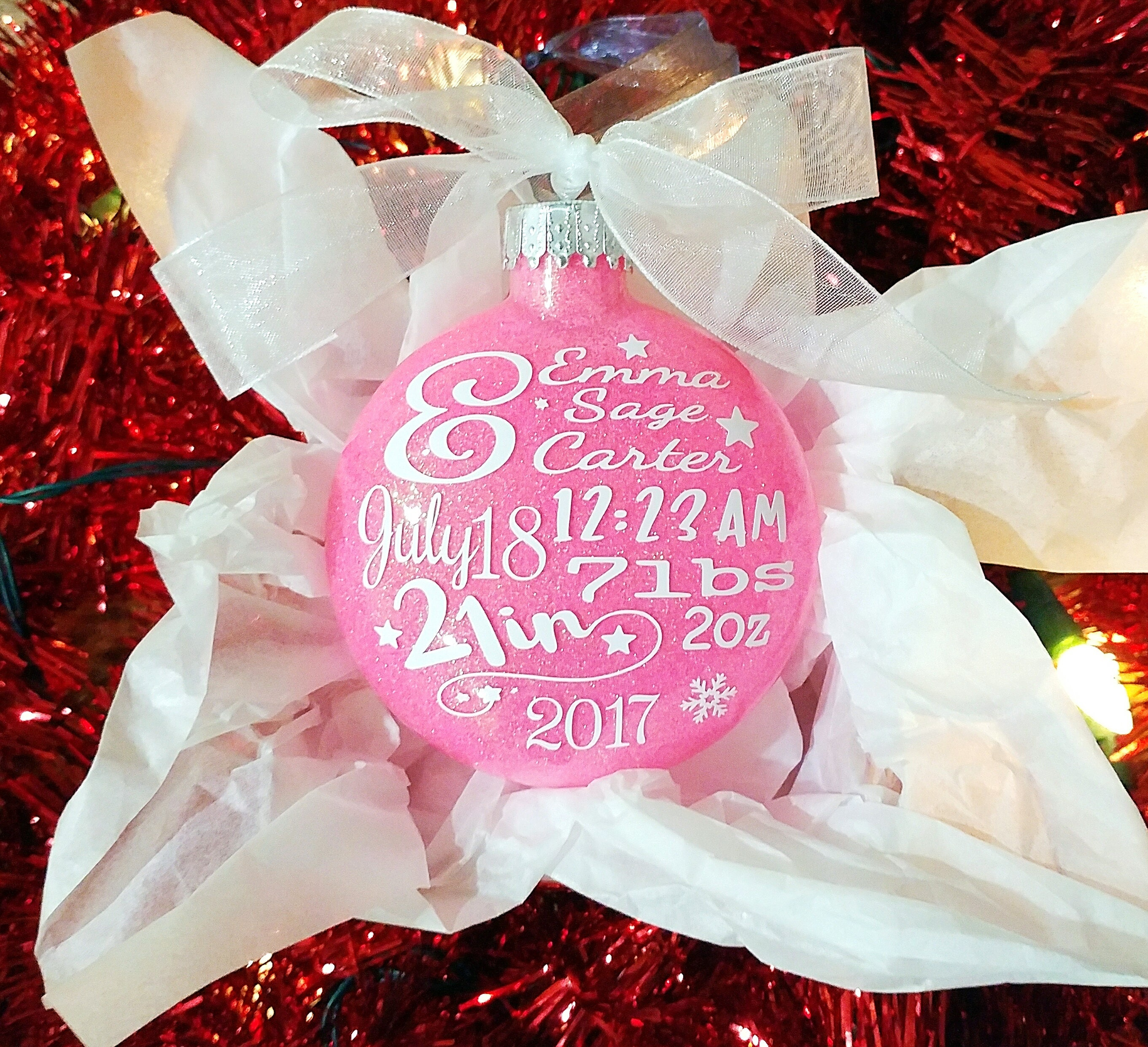 Baby Statistics Christmas Tree Ornament-Personalized Glitter