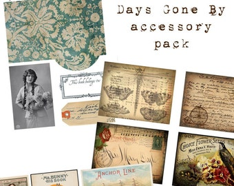 Digital Vintage Journal Accessory Kit - Days Gone By - Perfect for journals, cards, mixed media, scrapbooking (4 digital pages)