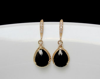 bridesmaids gold black earrings , wedding jewelry , gift for her , jet black drop earrings , black dangle , black glass earrings , bridal