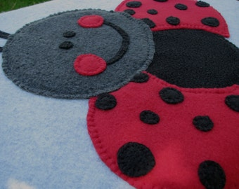 Ladybug Baby Blanket - Baby Blanket - Ladybug Blanket - Baby Girl Blanket - Baby Shower Gift - Baby Girl Shower Gift - Ladybug - READY SHIP