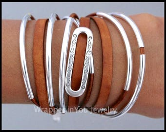LEATHER Wrap Bracelet - Genuine Real Leather Cord Silver Curved TUBES - Adjustable Cascading Triple Wrap Boho Leather Bangle Bracelet