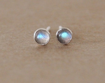 Labradorite stud earrings handmade with sterling silver settings. 3mm gemstone and silver studs, blue gold and green flashes, gift