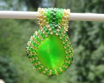 Green Seaglass Woven Bead Pendant