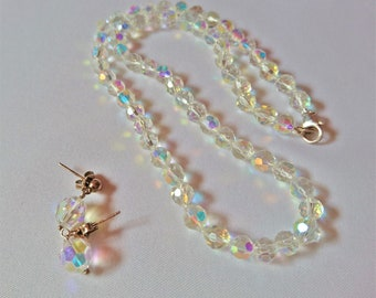 Necklace. Austrian Swarovski crystals and 7mm width dangle earrings. #184