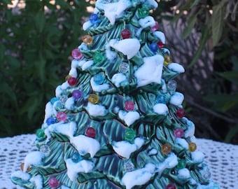 "8 1/2"" Ceramic Christmas Tree Lighted, Green with Snow Just Like Grandma/Mom's"