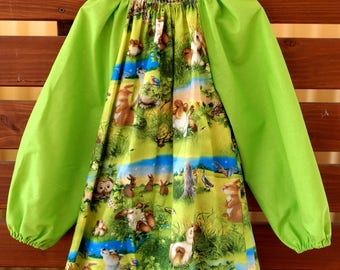 Kids Long Sleeve Art Smock - Size 4 - 7. Meadow Party