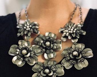 Estate Sale: Metal Flower Bib Necklace