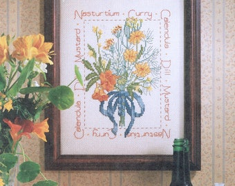 Yellow & Orange Flower Bouquet Cross Stitch Sampler - Herbs Cross Stitch - Vintage Cross Stitch