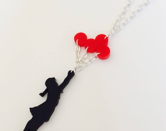 Banksy | Balloon Girl | Graffiti | Inspired | Laser Cut | Acrylic | Necklace