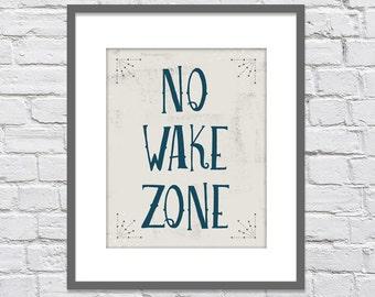 No Wake Zone - Nautical Vintage Print/ Nautical Nursery or Playroom/ Distressed look - 8x10, 11x14, 12x16 or 16x20