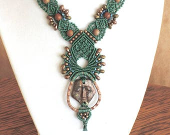 Raku face micro macrame necklace, Myrtle green, Jasper beads, Copper and Green seed and drop beads