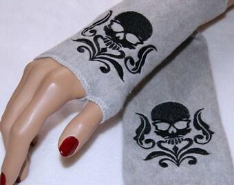 Embroidered Damask Skull Soft  Fleece Arm Warmers Black  Gray Gray MTCoffinz