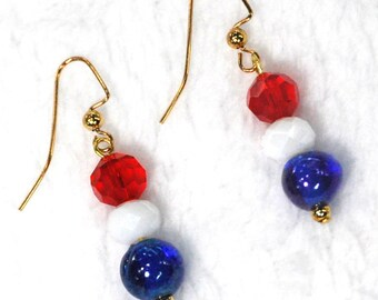 Patriotic Crystal and Glass Earrings | Red, White and Blue Earrings | 4th of July Earrings | Memorial Day Earrings | Labor Day Earrings