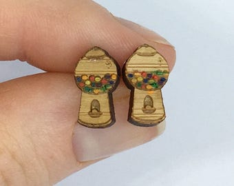Wooden Gumball Machine Earrings
