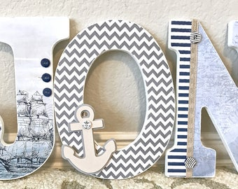 Baby boy nursery decor sports nursery decor personalized nautical baby boy name wooden wall letters personalized baby gift custom name negle Image collections