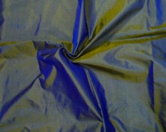 Fine Indian Silk Taffeta  in Golden yellow - Purple, Fat Quarter - TF 8.
