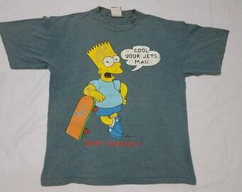Vintage BART SIMPSON Cool Your Jets Man Matt Groening Skateboards T Shirt