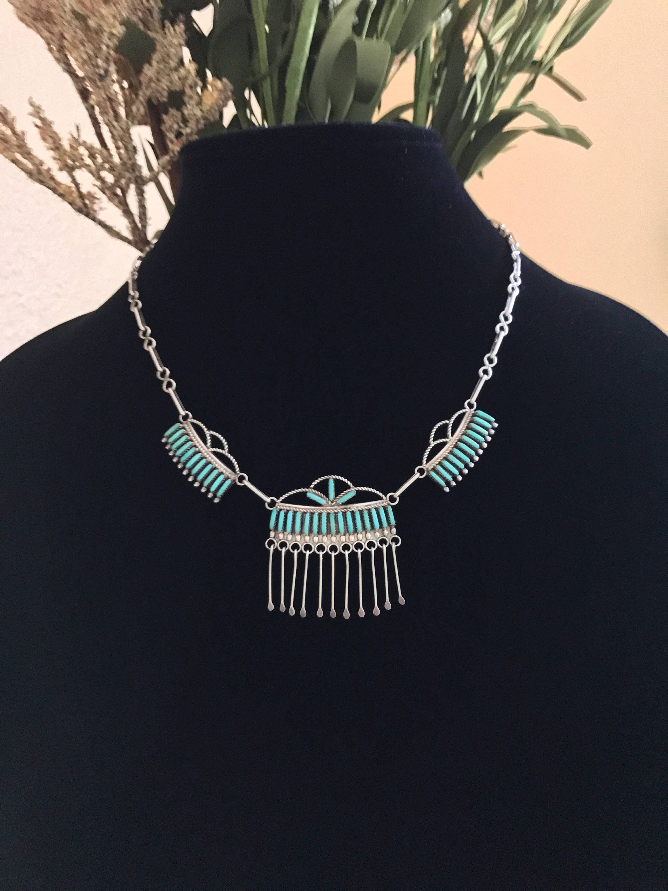 loaded full item chain inlay sterling zuni turquoise channel image cannot be mosaic pendant w