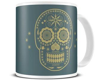 Sugar Skull Day of The Dead Coffee Mug - skull gifts - mexican skull mug - MG059