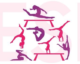 Gymnast svg, Gymnastics svg, Dance svg, Sports svg, Designs, SVG, DXF, EPS, cut files for Silhouette Studio & Cricut Design Space.