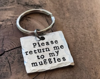 Please Return Me To My Muggles, Pet ID Tag, Dog Tag, Hand Stamped Pet Tag