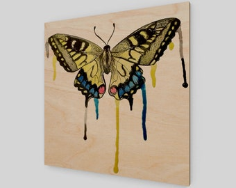 Butterfly Drip Wood Panel Wall Art