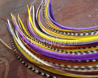 Long Feather Hair Extensions Purple Lavender Gold Grizzly Blend, One Bundle OF 8 Hair Feathers Bonded Hair Feather Extension Plumes Veren