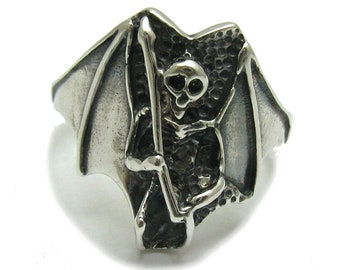 Sterling silver ring solid 925 Death pendant