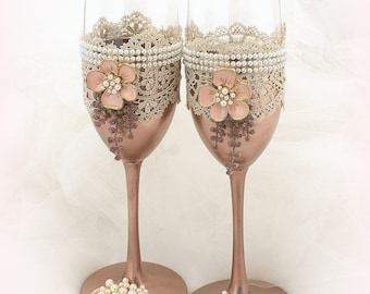Wedding Champagne Flutes Set Rose Gold Blush Wedding Champagne Glasses with Pearls and Lace Vintage Wedding Glasses