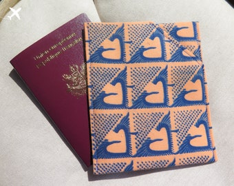 Protection for 2 passports (case) wax (African fabric) - KOKA / / salmon and blue
