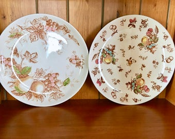 Two Vintage Japanese IRONSTONE decorative plates, pears and fruit, Transferware