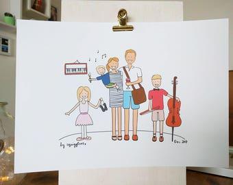 Custom illustration / custom portrait, fully personalised family portrait / couples portrait
