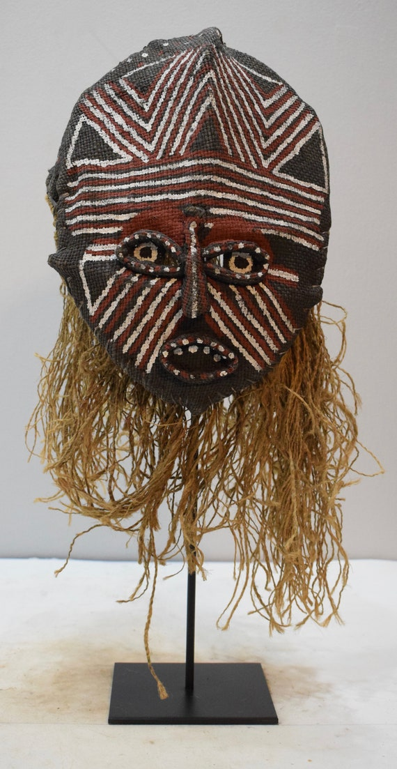 African Mask Makishi Cloth Raffia Mask Initiation Zambia Adulthood Spirit Makisi Mask