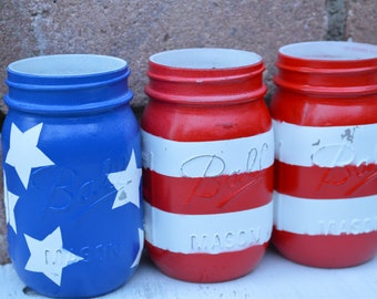 4th of July American Flag Mason Jar set of 3